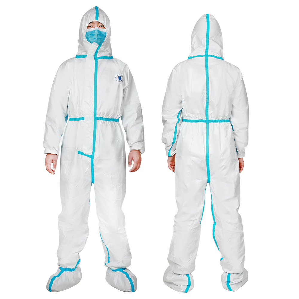 Disposable Protective Coverall Suit,Long Front Zipper,Elasti